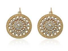 Riccova Country Chic 14K Gold Pl Crys Flower Medallion Earring