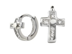 Sterling Silver Sim. Diamond Cross