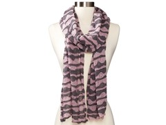Anne Klein Scallop Stripe Neckwrap, Purple/Gray