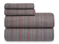 Grey Striped Flannel Sheet Set-2 Sizes