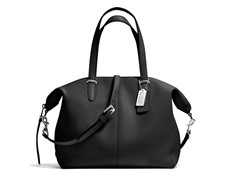 Coach Bleeker Cooper Pebble Leather Satchel- Silver/Black