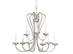9-Light Chandelier, Brushed Nickel