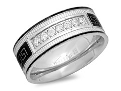 Men's Two-Tone Band Ring w/ Greek Accent