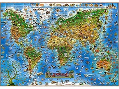 Illustrated Map of Animals of the World