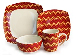 American Atelier Zigzag 16-pc Dinnerware Set Red