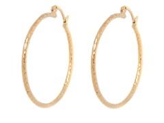 18k Plated Diamond Cut Hoop Earring