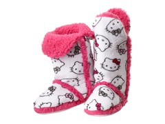 Hello Kitty Junior's Tall Sherpa Trim Slipper Bootie, White