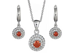 Sterling Silver Dual Row CZ Set