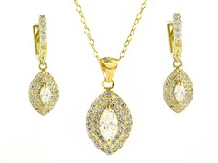 18kt Plated Marquise Cut Set