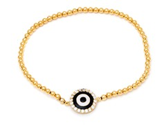 Black/White Enamel Evil Eye Gold Elastic Bracelet