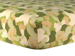 Camo Print Flannel Crib Sheet