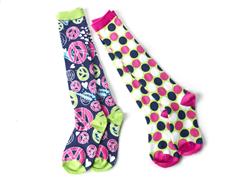 Splatter Peace/Dots Knee Socks (2 Pair)