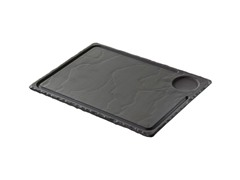 "Basalt Steak Plate with Indent 13"" x 9.5"