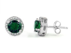 SS Micropave Green CZ Halo Stud Earrings