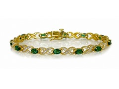 Emerald & Diamond XO Bracelet