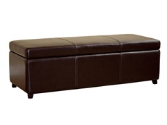 Philostrate Leather Storage Bench Ottoman