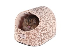 Hooded Cat Bed - Flower Pattern & Beige