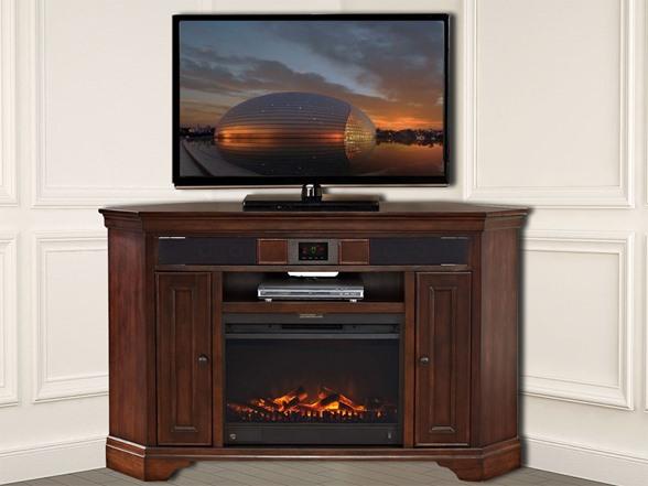 "Granville 60"" Corner Audio TV Stand & Fireplace"