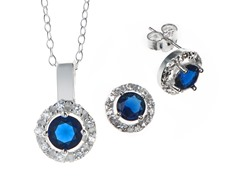 Blue Round CZ Stud/Chain Set