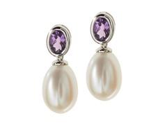 SS, Amethyst & Freshwater Pearl Earring