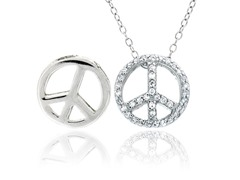 SS Reversible CZ Peace Sign Pendant w/ Chain
