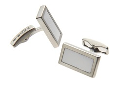 Stainless Steel Square Cufflinks, White