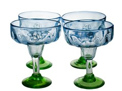Luster Blue Margarita Glasses - Set of 4