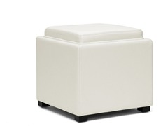 Gaia Cream Leather Storage Cube Ottoman