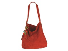 Karma Suede Shoulder Tote, Red