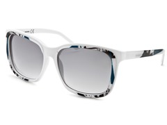 Women's Sunglasses, White-Black-Teal/Gray Gradient