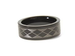 Tungsten Two-Tone Diamond Pattern Ring