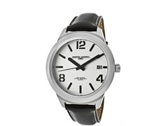 Men's White Dial Black Leather Watch