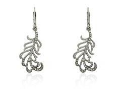 Riccova Country Chic Rhodium Plated Crystal Leaf Dangle Earring