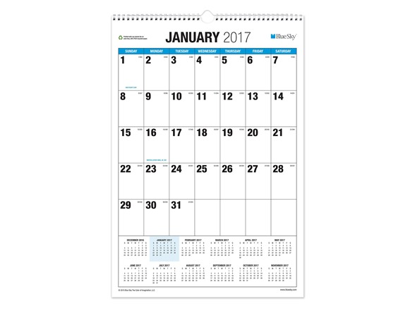 "Blue Sky 2017 Monthly Wall Calendar, Wire-O Binding, 15"" x 22.75"", Classic (19589) FF33721A"
