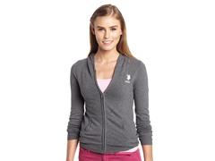 Long Sleeve Zip Front Hoodie, Heather Thermal