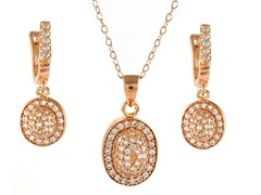 18kt Rose Plated Sterling Silver Dome Set