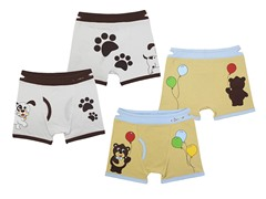 2-pk Boys Boxer Briefs - Dog-Bear (S-M)