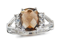SS, Smoky Quartz & White Topaz Ring
