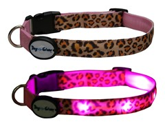 Dog-e-Glow Leopard Print LED Lighted Collar - Large