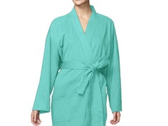Organic Cotton Jersey Knit Robe-Light Blue