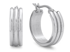 Stainless Steel Hoop Earrings w/ Texture