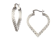18k White Gold Plated Cut Heart Hoops