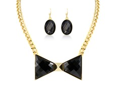 Gold-Plated Smoky Topaz Bow Fancy Set
