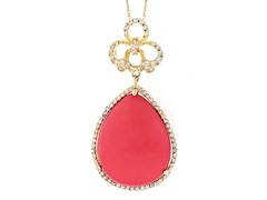 18kt Plated Syntheic Coral Necklace