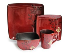 American Atelier Elise Red 16-pc Dinnerware Set