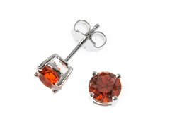 Sterling Silver, 6 mm Orange CZ Earrings