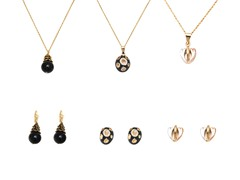 Gold & Black Triple-Tone Set of 3 Drop Earrings & Necklace Set