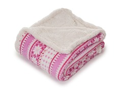 Fleece Sherpa Blanket Throw - Silver Stars