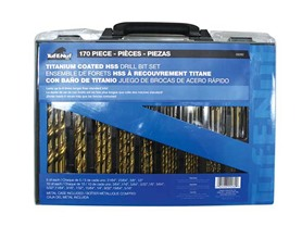 170-Piece Titanium-Coated Drill Bit Set