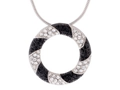 Stainless Steel Circle Pendant w/ Black/Crystal Swarovski Elements
